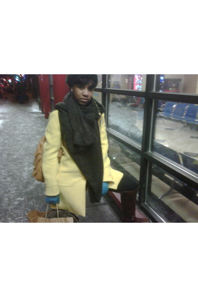 yellow Zara jacket - blue gloves - brown scarf