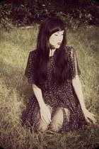 black vintage dress - black new look heels