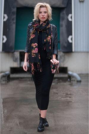 black Sacha boots - black H&M Trend dress - black H&M jacket - black H&M scarf