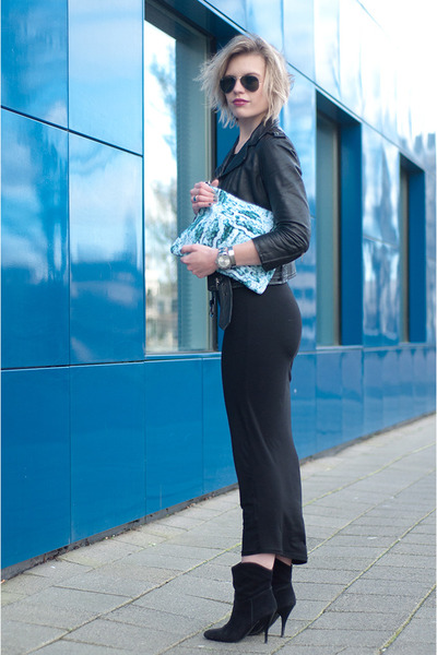 black Mango boots - black H&M Trend dress - black H&M jacket