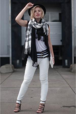 black Topshop scarf - white River Island scarf - black Boohoo blazer