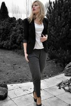 gray Scapino pants - black Sacha shoes - black Scapino blazer