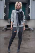 gray Gipsy stockings - heather gray Boohoo sweater - dark gray Nordstrom scarf