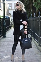 black Zara coat - black H&M leggings - black melie bianco bag