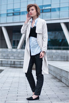 light blue H&M shirt - beige H&M coat - black Mango pants