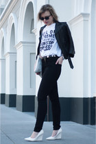 black weekday jeans - black H&M jacket - black Ray Ban sunglasses