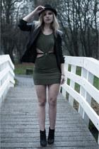black MMM x H&M boots - olive green inlovewithfashion dress