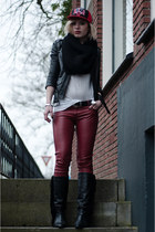 black Sacha boots - ruby red Mitchell and Ness hat - black H&M jacket