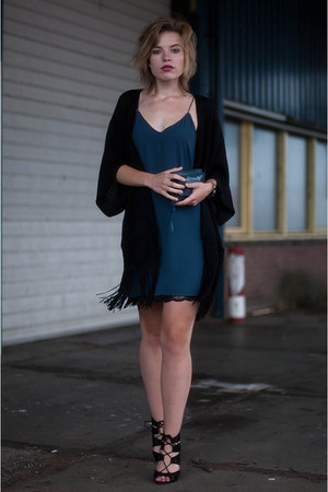 navy Ikks purse - navy Zara dress - black Primark cardigan - black Zara sandals