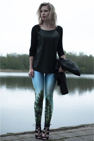 forest green Zara top - black H&M jacket - forest green Chicwish leggings
