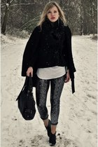 silver Red Rouge leggings - black Scapino boots - black Zara coat