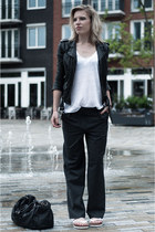 white Hema t-shirt - black H&M jacket - black sacha shoes bag