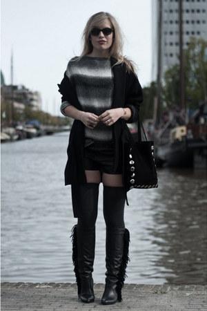H&M stockings - Sacha boots - Zara coat - H&M sweater - Frenchonista bag