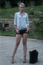 black Zara bag - light blue H&M shirt - black Cool Cat shorts