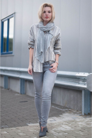 heather gray WE fashion jeans - heather gray Zara shirt