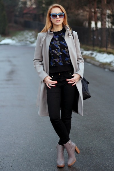 blue Zara sunglasses - charcoal gray Zara boots - heather gray Zara coat