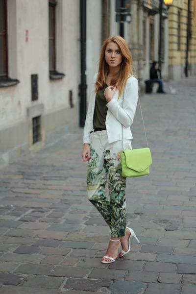 green H&M panties - white Bershka jacket - chartreuse Mango bag
