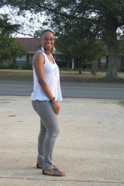 gray Miley Cyrus jeans - white tank Tarea top