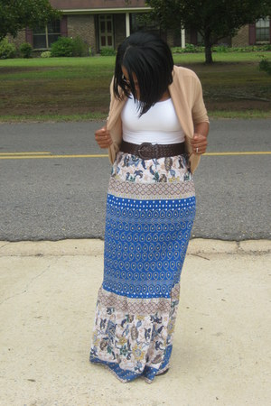 camel rue21 cardigan - blue diy unknown brand skirt - white tank MaxRave top