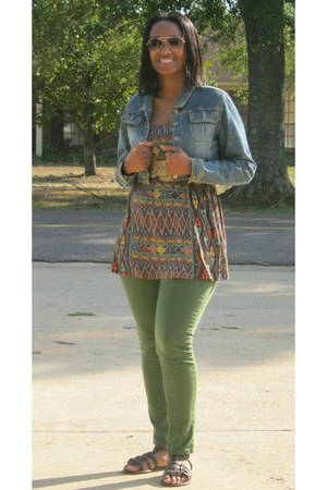 navy tube Forever21 top - green skinny jeans rue21 jeans