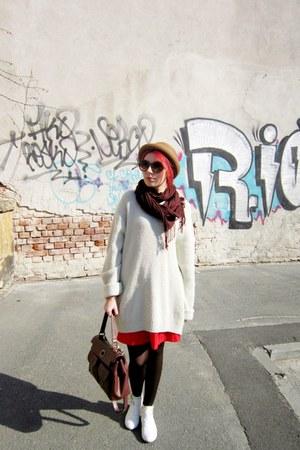 white new look boots - crimson meli melo bag - red vintage skirt