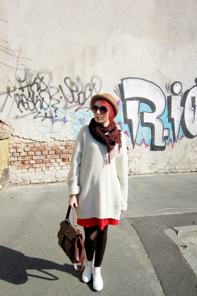 white new look boots - crimson meli melo bag - red vintage skirt