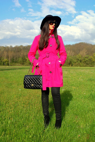 black Aldo boots - hot pink Petite coat - black Chanel bag - black Prada glasses