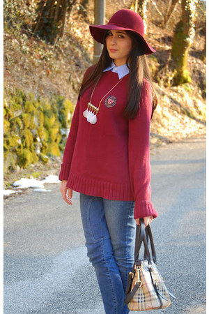 brick red Ralph Lauren sweater - sky blue Ralph Lauren shirt - Burberry bag