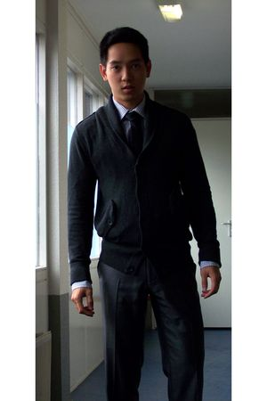 black Zara tie - brown we shirt - silver we pants - gray H&M cardigan