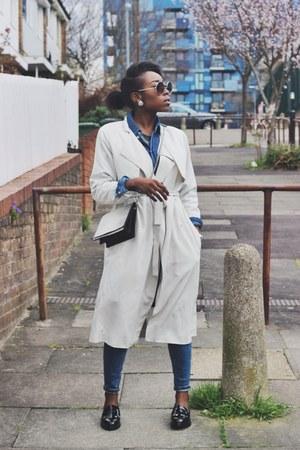 beige trench H&M jacket - blue skinny asos jeans - blue denim Topshop shirt
