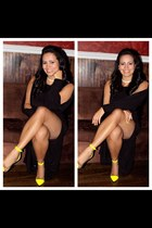 black Ralph Lauren dress - yellow Christian Louboutin pumps