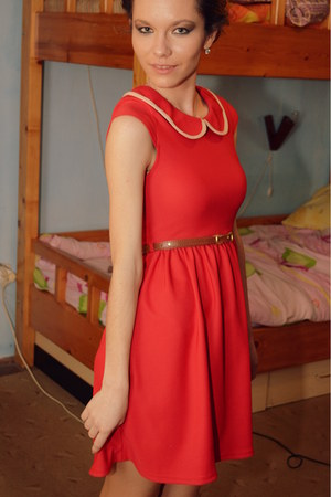 coral dress - burnt orange belt