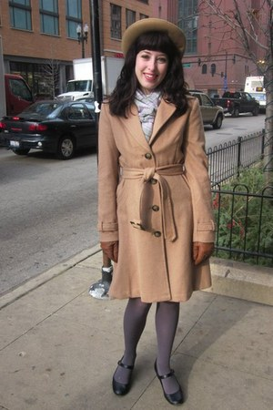 camel H&M coat - camel vintage hat - periwinkle thrifted scarf - brown Macys glo