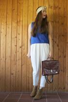 white Sheinside pants - bronze bullboxer boots - crimson thrifted vintage bag