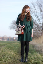 bronze thrifted vintage bag - forest green PERSUNMALL dress