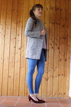 heather gray Sheinsidecom coat - blue GINA TRICOT jeans