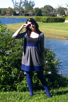 blue American Eagle sweater - silver Urban Outfitters dress - blue Express tight