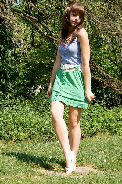 green Forever 21 skirt - white vintage from etsy shoes