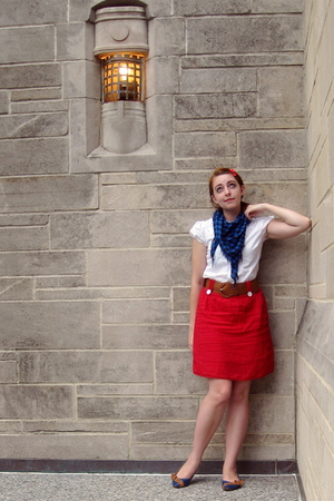 thrifted blouse - TJ Maxx scarf - Wet Seal belt - Forever 21 skirt - modcloth sh