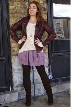 crimson leather Aldo jacket - dark brown wedges journeys boots