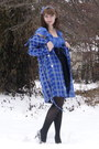 Blue-charlotte-russe-coat-periwinkle-h-m-dress-black-urban-outfitters-belt-