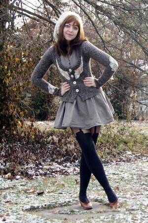 black Henry Holland tights - tawny vintage shoes - heather gray Forever 21 dress