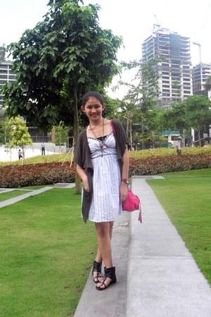 light blue Mossimo dress - black Parisian boots - hot pink heartstring bag