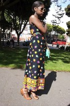 black dress - yellow cotton dress - light brown leather t strap Solea shoes