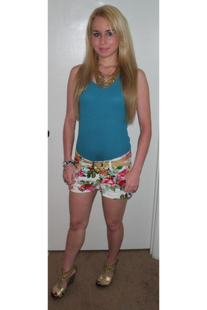 bubble gum floral print Walmart shorts - teal ribbed tank Wet Seal shirt