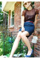purple vintage shirt - blue LF skirt