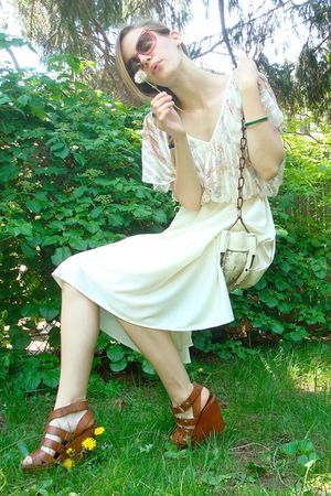 white vintage dress - brown Cynthia Vincent for Target shoes - purple vintage ac