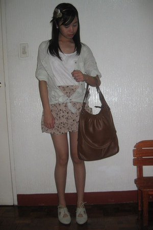 white Bayo top - camel The Ramp skirt - light blue cocco top - dark brown bag -