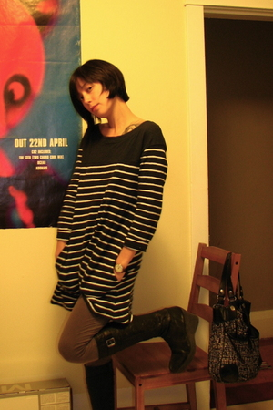 black H&M dress - black Marko boots - brown timex accessories