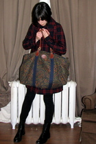 blue H&M coat - black Browns boots - black Zara leggings - green Gap purse